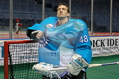 2/23/2013 - Rochester Knighthawks morning shootaround/Matt Vinc US Lacrosse Magazine photoshoot - Blue Cross Arena, Rochester, NY