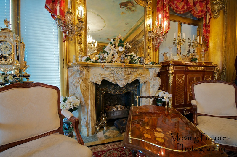 Laurel Court - Ornate fireplace in music room