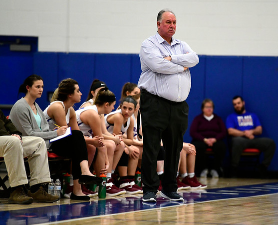 2/28/2019 Mike Orazzi | Staff St. Paul Girls Basketball Coach Joe Mone during the Class S Second Round State Girls Basketball Tournament with Parish Hill in Bristol Thursday night.