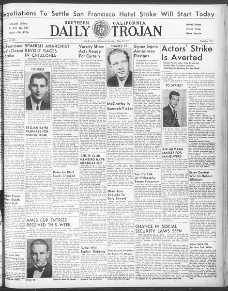 Daily Trojan, Vol. 28, No. 128, May 03, 1937