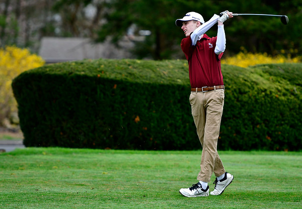 4/30/2019 Mike Orazzi | Staff Bristol Central's Richard Aubin during Tuesday's match with Bristol Eastern at Chippanee Golf Club.