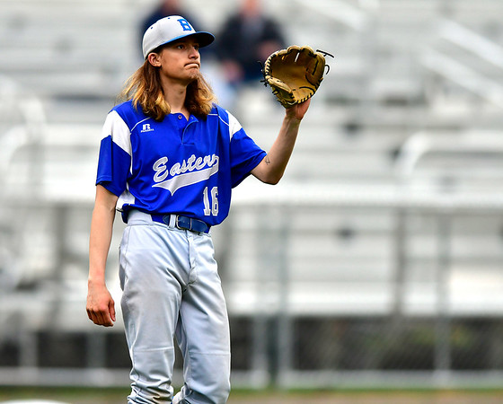 5/1/2019 Mike Orazzi | Staff Bristol Eastern's Jagger Duquette (16) at Muzzy Field Wednesday evening.