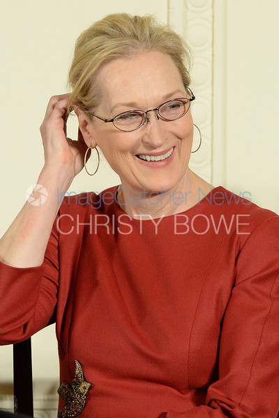 Actress Meryl Streep grins at President Obama during the Presidential Medal of Freedom Award Ceremony.  photo: Christy Bowe - ImageCatcher News
