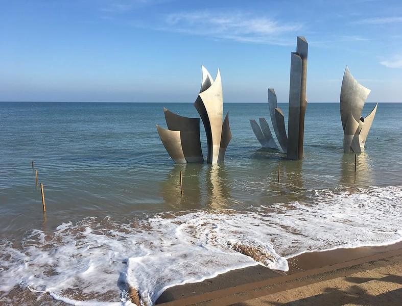High tide at the memorial at Omaha Beach