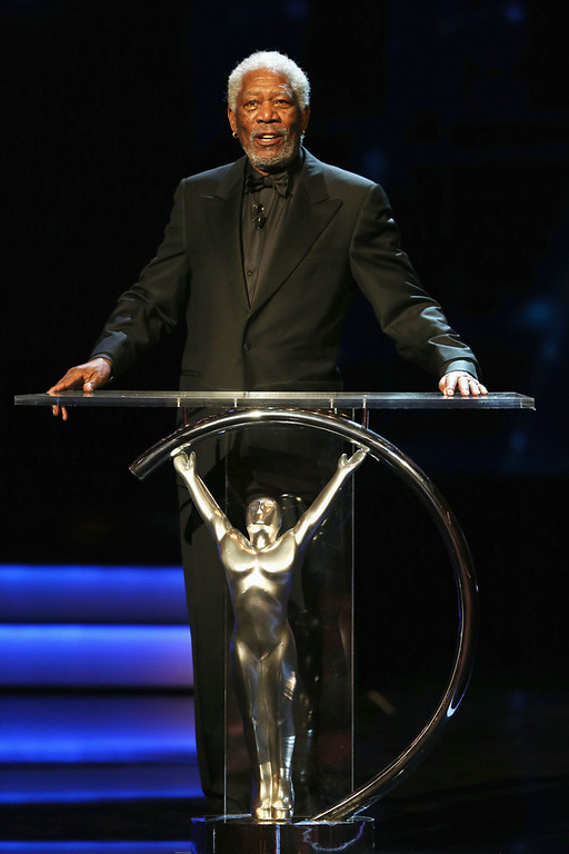 . Host Morgan Freeman during the awards show for the 2013 Laureus World Sports Awards at the Theatro Municipal Do Rio de Janeiro on March 11, 2013 in Rio de Janeiro, Brazil.  (Photo by Ian Walton/Getty Images For Laureus)