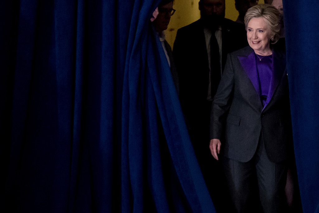 . Hillary Clinton arrives to speak to staff and supporters at the New Yorker Hotel in New York, Wednesday, Nov. 9, 2016. Clinton conceded the presidency to Donald Trump in a phone call early Wednesday morning, a stunning end to a campaign that appeared poised right up until Election Day to make her the first woman elected U.S. president.  (AP Photo/Andrew Harnik)