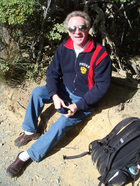 The most ridiculous hiking outfit ever!  Dad hiked 12 miles (10 hours) in Rockport slip ons, snazzy whit socks, Dockers jeans, and a stylin' Russia jacket. It's a wonder he survived.