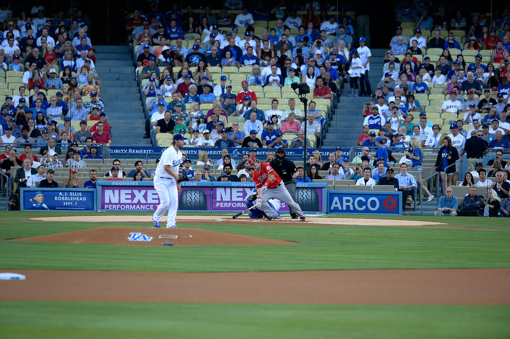 . In the first inning, Angels Mike Trout faces Dodger pitching ace Clayton Kershaw for the first time in a historic moment in baseball. Los Angeles CA. 8/5/2014(Photo by John McCoy Daily News)