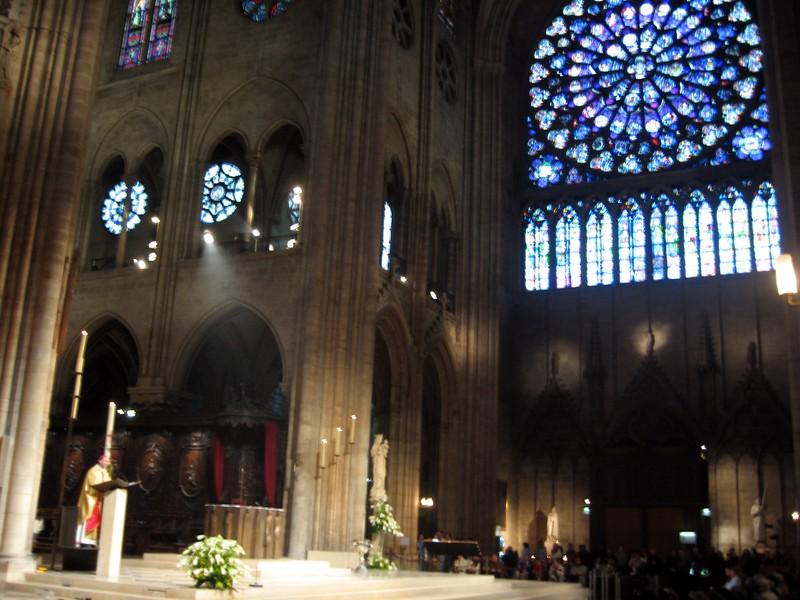 Service inside Notre Dame de Paris