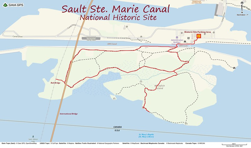 Sault Ste. Marie Canal Hike Route Map