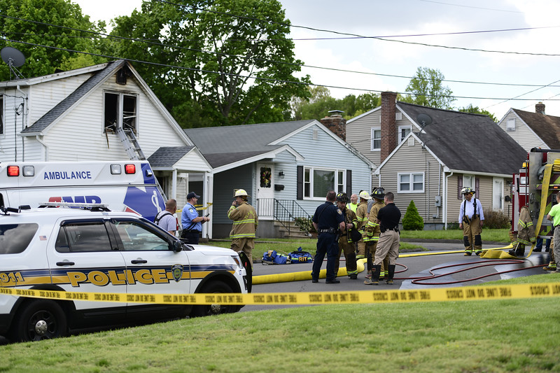 5/16/2019 Mike Orazzi | Staff The scene of a house fire on Fairbanks Street in Plainville Thursday morning. One person was rescued and eventually flown to the Bridgeport Burn Center at Bridgeport Hospital. Crews from several surrounding towns responded as mutual aid.