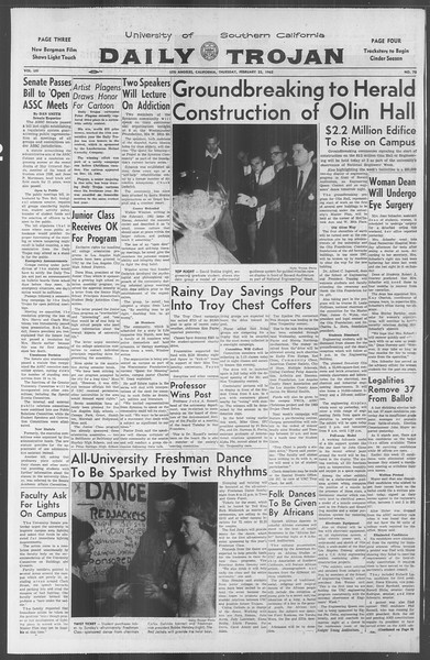 Daily Trojan, Vol. 53, No. 75, February 22, 1962
