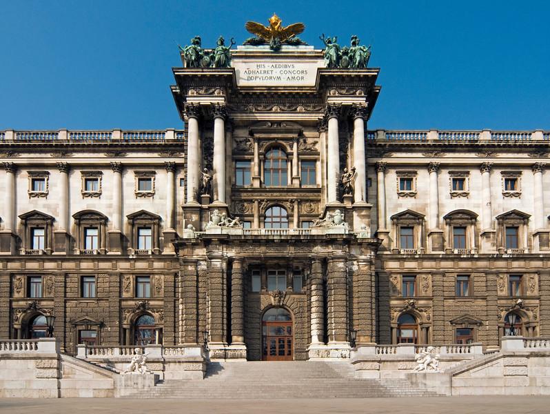 Neue Burg (New Castle) Wing of Wiener Hofburg Palace as seen from Burggarten, Vienna (Wien), Austria