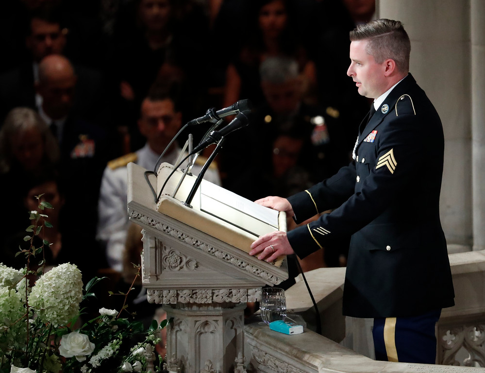 . Jimmy McCain reads the poem �The Requiem,� at a memorial service for his father, Sen. John McCain, R-Ariz., at Washington National Cathedral in Washington, Saturday, Sept. 1, 2018. McCain died Aug. 25, from brain cancer at age 81. (AP Photo/Pablo Martinez Monsivais)