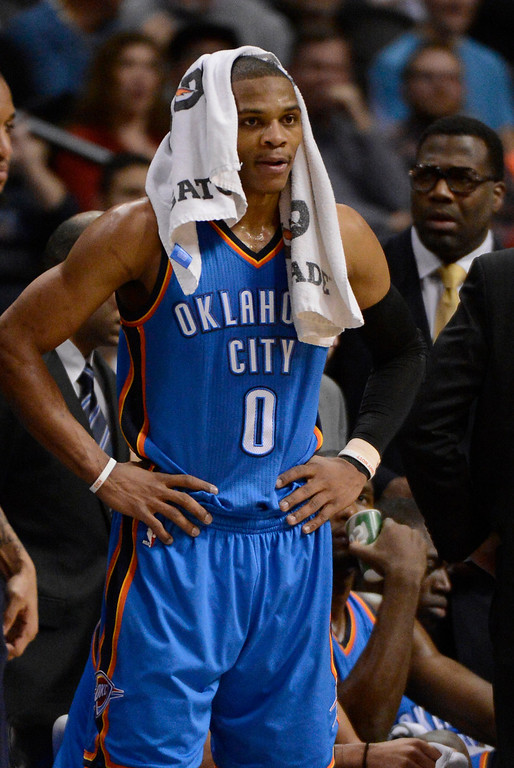 . DENVER, CO. - JANUARY 20: Oklahoma City Thunder point guard Russell Westbrook (0) takes a breather during a timeout in their game against the Denver Nuggets January 20,  2013 at Pepsi Center. (Photo By John Leyba / The Denver Post)