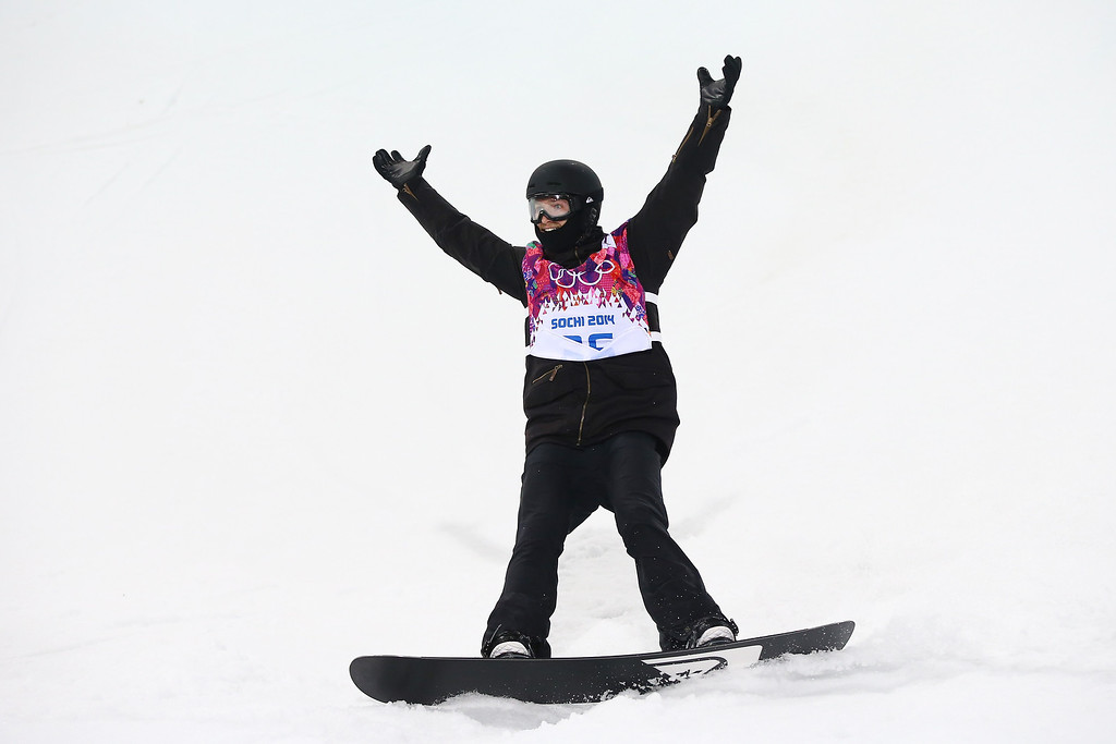 . Iouri Podladtchikov of Switzerland celebrates in the Snowboard Men\'s Halfpipe Finals on day four of the Sochi 2014 Winter Olympics at Rosa Khutor Extreme Park on February 11, 2014 in Sochi, Russia.  (Photo by Al Bello/Getty Images)