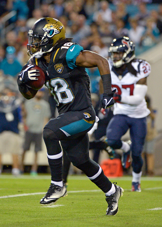 . Jacksonville Jaguars wide receiver Ace Sanders (18) runs for yardage past Houston Texans defensive back Josh Victorian (27) during the first half of an NFL football game in Jacksonville, Fla., Thursday, Dec. 5, 2013.(AP Photo/Phelan M. Ebenhack)