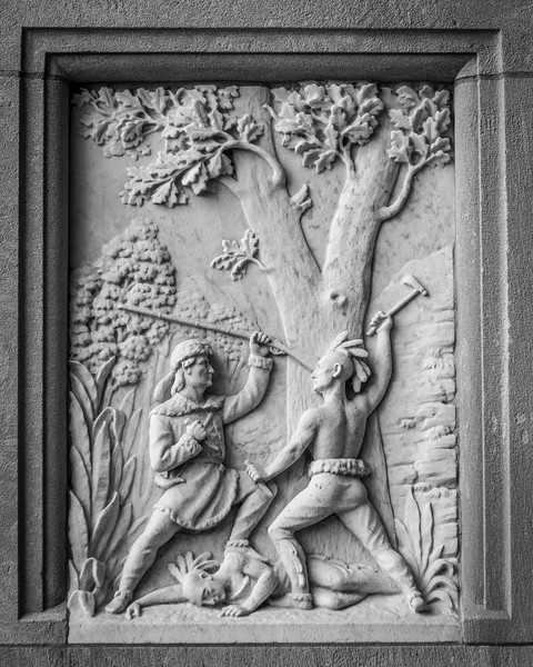 Fighting Indians - Marble Panel - Daniel Boone Grave - Kentucky