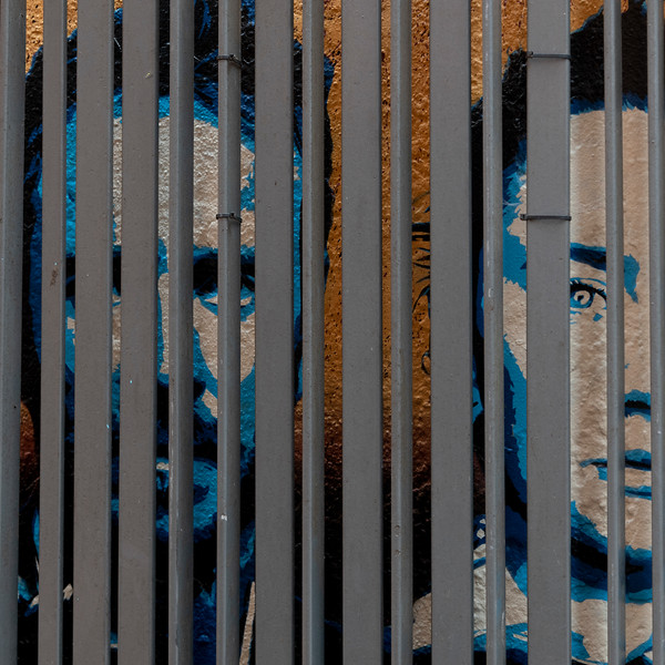 View of faces painted on a wall seen through the metal grate, City of Cork, County Cork, Ireland