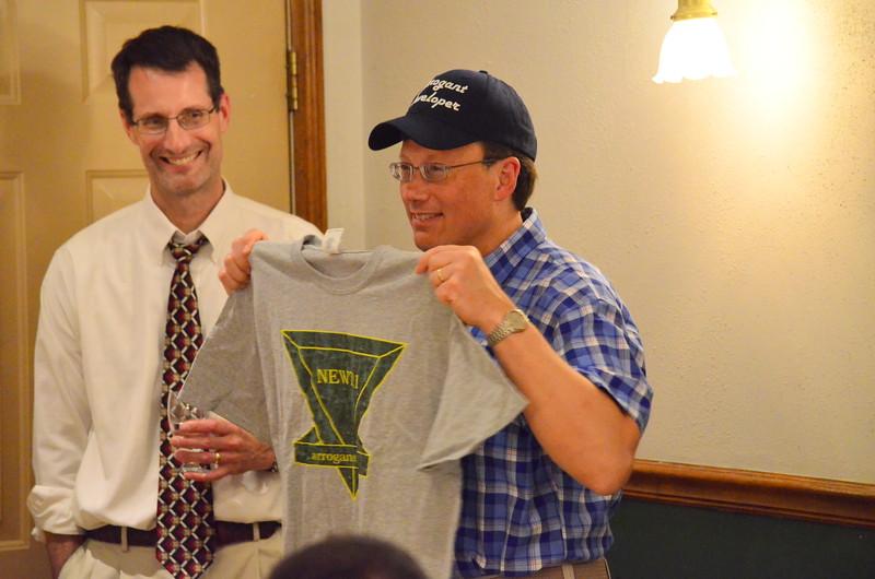 Mark's gift - a tee shirt with custom logo that Mark originally designed.