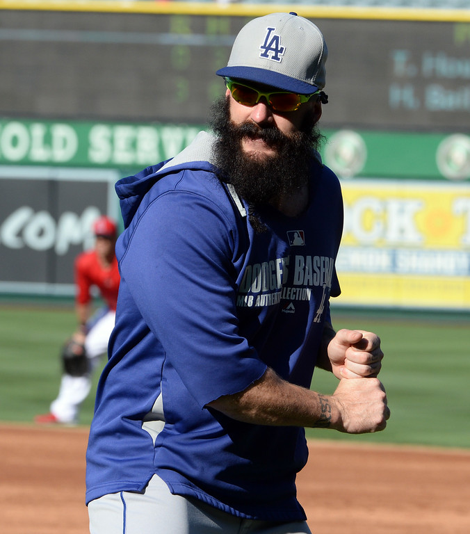 . Los Angeles Dodgers pitcher Brian Wilson prior to a baseball game against the Los Angeles Angels at Anaheim Stadium in Anaheim, Calif., on Thursday, Aug. 7, 2014.  (Photo by Keith Birmingham/ Pasadena Star-News)