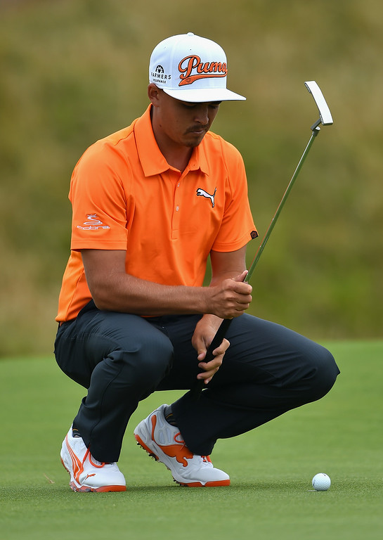 . Rickie Fowler of the United States lines up a putt during the final round of The 143rd Open Championship at Royal Liverpool on July 20, 2014 in Hoylake, England.  (Photo by Stuart Franklin/Getty Images)