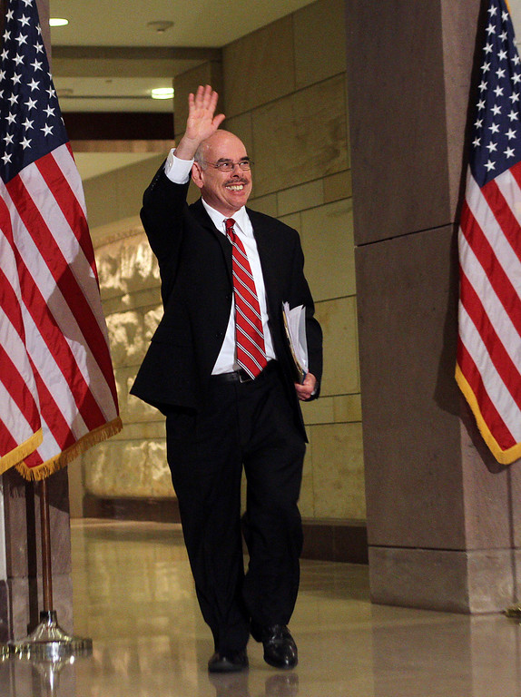 . Representative Henry Waxman arrives for a meeting with House Democrats on Capitol Hill in Washington, DC, March 20, 2010.      (CHRIS KLEPONIS/AFP/Getty Images)