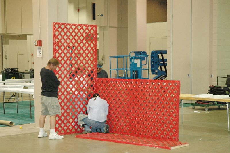 """Setup continues in """"El Puente,"""" the Interaction Center located in the Henry B. Gonzalez Cenvention Center. Display areas will be available for various exhibitors."""