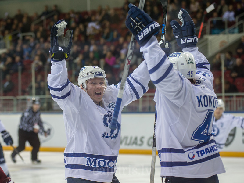 Alexander Rybakov (12) and Semyon Kokuyov (45) celebrate the goal in the KHL regular championship game between Dinamo Riga and Dynamo Moscow, played on October 3, 2016 in Arena Riga