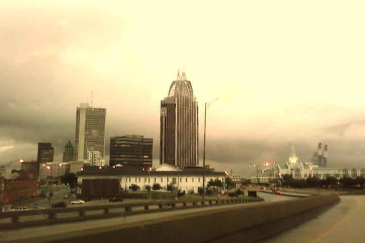 I forgot my camera today, so this picture is taken with my old cell phone camera.  I changed the tones a bit and like it.  And no, Leroy didn't get any of the rain that fell on Mobile today.<br /> <br /> Mobile, Alabama
