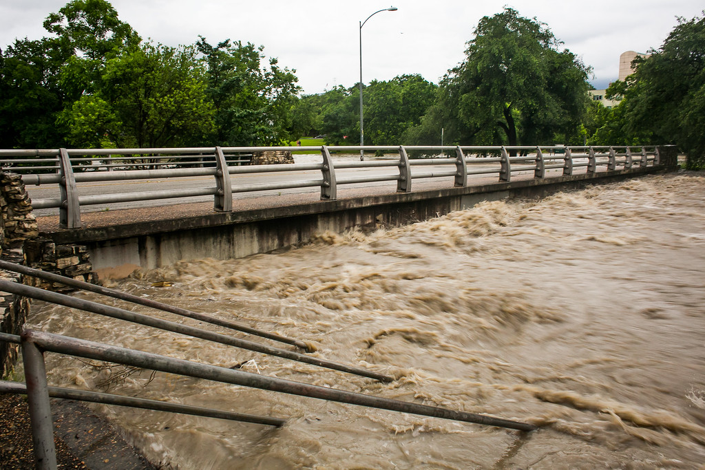 . AUSTIN, TX - MAY 25:   Rising floodwaters at Shoal Creek are shown after days of heavy rain on May 25, 2015 in Austin, Texas. Texas Gov. Greg Abbott toured the damage zone where one person is confirmed dead and at least 12 others missing in flooding along the Rio Blanco, which reports say rose as much as 40 feet in places, caused by more than 10 inches of rain over a four-day period. The governor earlier declared a state of emergency in 24 Texas counties.  (Photo by Drew Anthony Smith/Getty Images)