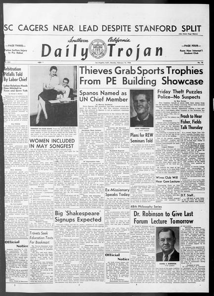 Daily Trojan, Vol. 45, No. 73, February 15, 1954