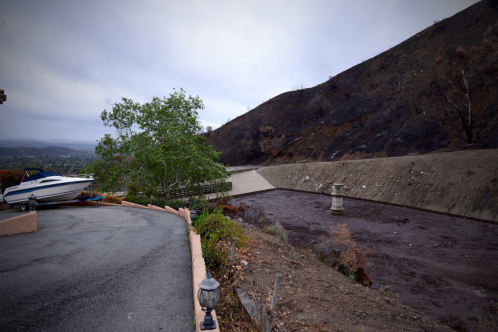 . Englewild Debris Basin in Glendora is about half full as seen Saturday, March 1, 2014 and is expected to hold out through the duration of the storm. The basin is one of four key debris basins in the Colby Fire burn area.  (Photo by Sarah Reingewirtz/Pasadena Star-News)