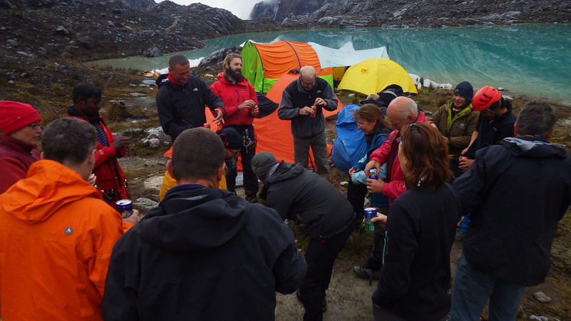 Celebration after the other 6 members summited Carstensz Pyramid next day – November 21st.