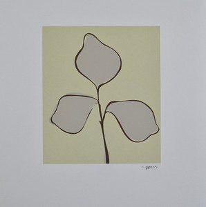 """Floral 133 by C Press, monoprint on 13 1/4"""" x 11"""" paper"""