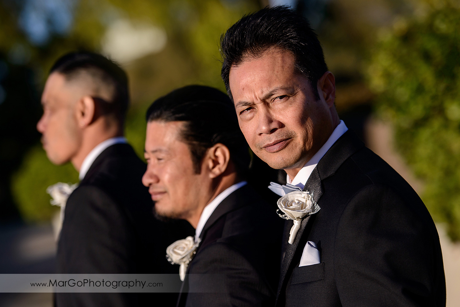portrait of the groom with groomsmen at Hilton San Francisco Airport Bayfront in Burlingame