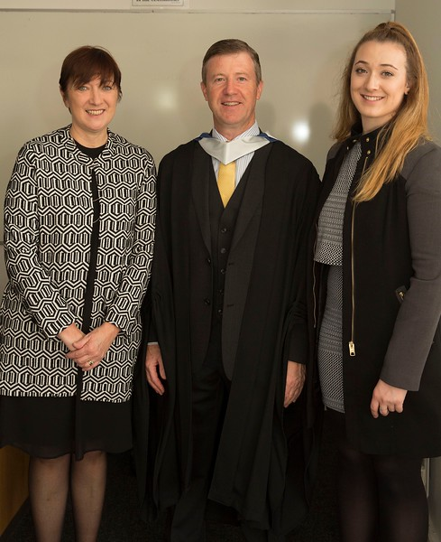 28/10/2015 Image Free to Use. Conferring at Waterford Institute of Technology. John Warren from Waterford Batchelor of Arts in Community Education & Development with Lorraine and Shauna Warren.Photo; Mary Browne