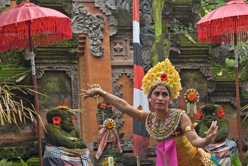Isolated shot of female Barong dancer in Bali