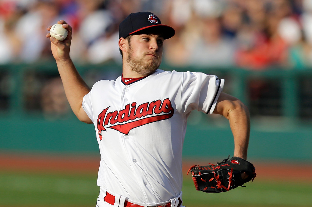 . Cleveland Indians starting pitcher Trevor Bauer delivers in the first inning of the team\'s baseball game against the Los Angeles Dodgers, Tuesday, June 13, 2017, in Cleveland. (AP Photo/Tony Dejak)