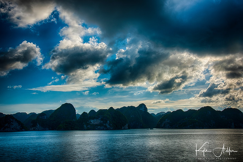 A few of the more than 1600 jagged mountains that jut up from Halong Bay, a UNESCO World Heritage Site.