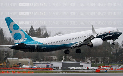 Boeing's 737 MAX 8 lifts off the tarmac on it's maiden fligh
