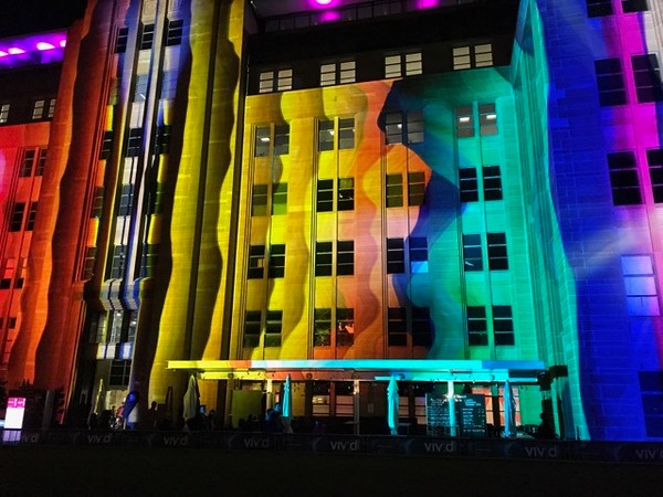 Wavy art projected onto Museum of Contemporary Art Australia - photo by Pam Baker