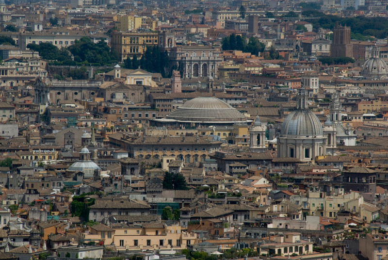 Rooftops and domes over the city skyline in Rome, Italy