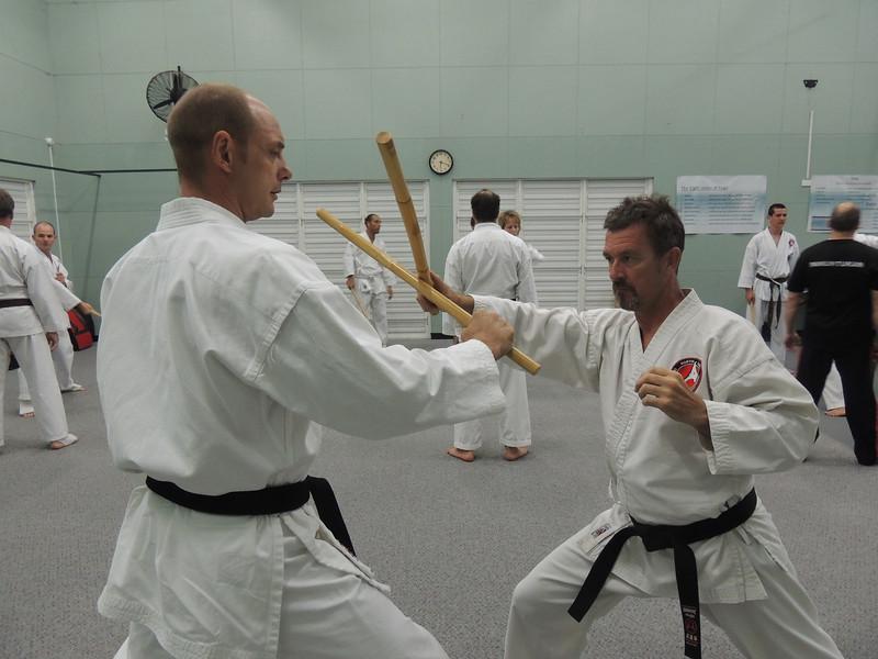 Nigel & Garry 1st Dan Black Belts Combat Karate, Noosa Training On Grandmaster Angelo;s Filipino Kyusho Seminar Combat Karate, Noosa,Queensland February 2014