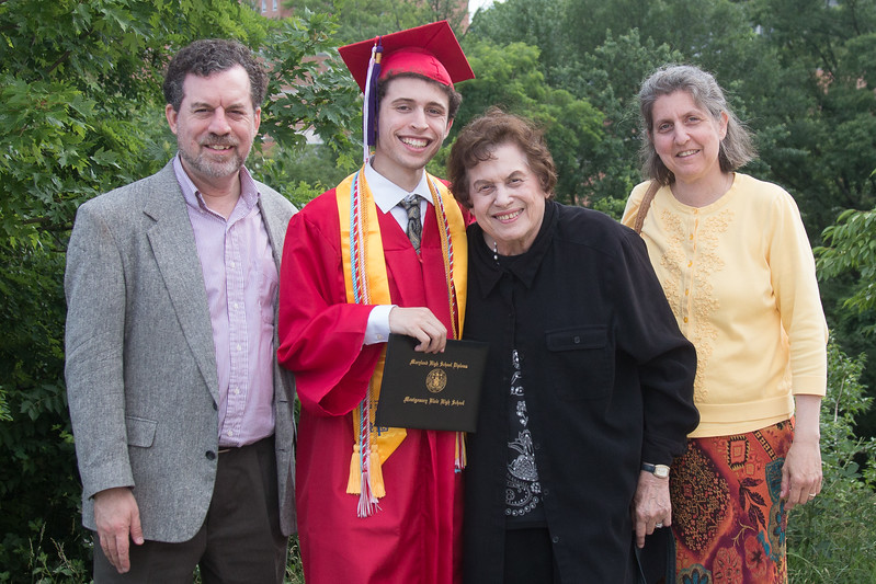 David, Noah, Grandma Elaine, Sheryl -- Noah Friedlander - June 6, 2017 graduation from Montgomery Blair High School - Magnet Program for Math, Science, and Computer Science, Xfinity Center, University of Maryland, College Park.