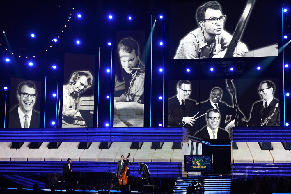 Description of . Tribute to late jazz musician Dave Brubeck onstage at the 55th Annual GRAMMY Awards at Staples Center on February 10, 2013 in Los Angeles, California.  (Photo by Kevork Djansezian/Getty Images)