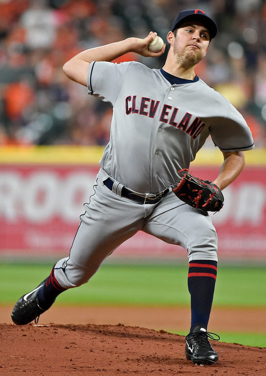 . Cleveland Indians starting pitcher Trevor Bauer delivers in the first inning of a baseball game against the Houston Astros, Friday, May 19, 2017, in Houston. (AP Photo/Eric Christian Smith)