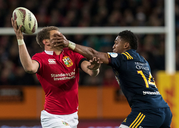Waisake Naholo and Owen Farrell, during game 4 of the British and Irish Lions 2017 Tour of New Zealand,The match between  Highlanders and British and Irish Lions, Forsyth Barr Stadium, Dunedin, Tuesday 13th June 2017 (Photo by Kevin Booth Steve Haag Sports)  Images for social media must have consent from Steve Haag