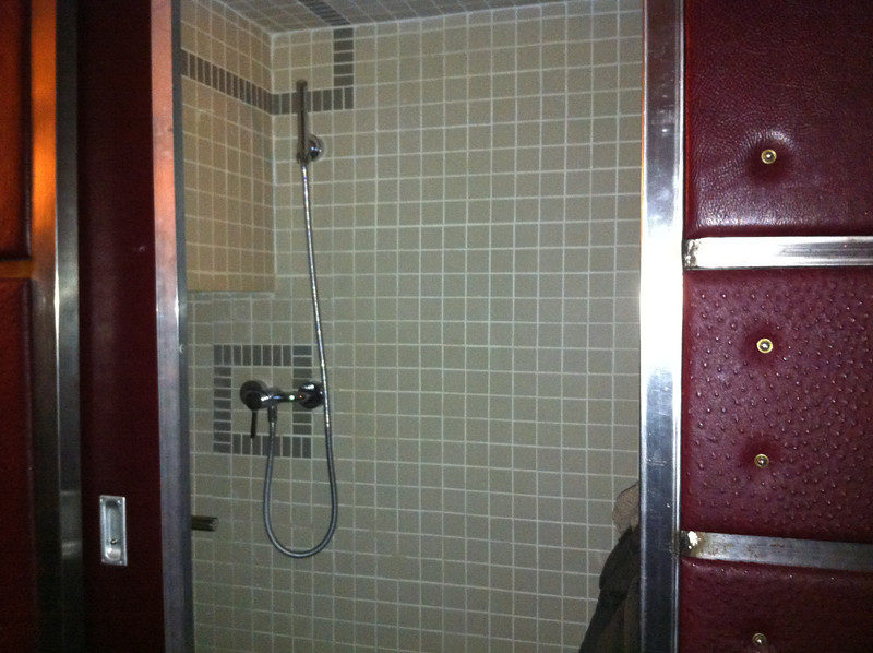 The bathroom was a tiny water closet with shower above toilet