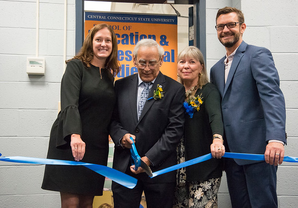 10/03/19 Wesley Bunnell | StaffrrCCSU officially opened the Dr. Antone B. Capitao Biomechanics Laboratory Classroom with a ribbon cutting on Thursday October 3, 2019. Dr. KImberly Kostelis Dean of the School of Education & Professional Studies, L, Dr. Capitao, wife Mrs. Donna Wolf Capitao, and Dr. Jason Melnyk, Chair of the Department of Physical Education & Human Performance.